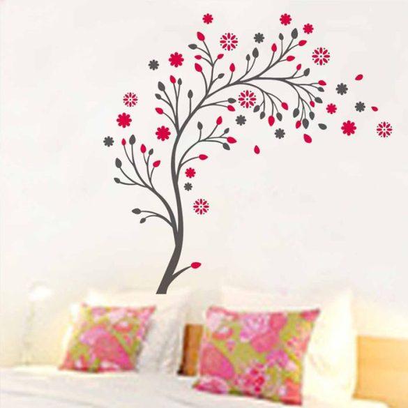 Sticker perete copac cu flori pink