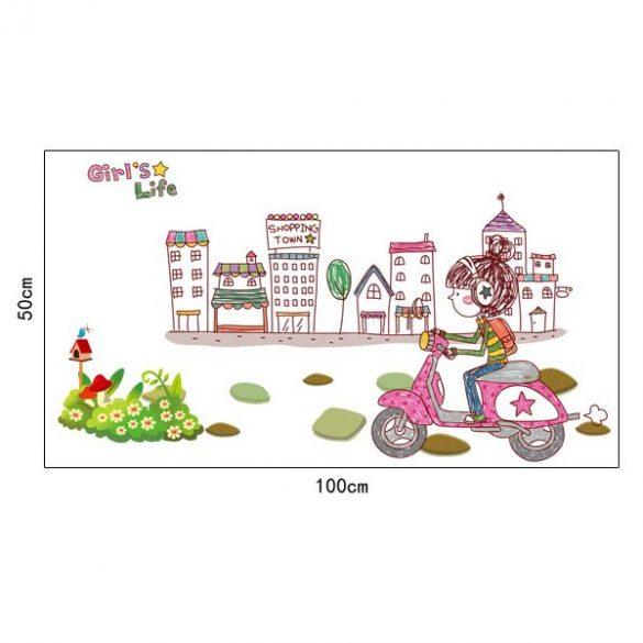 Sticker perete cu scutere pentru fetiţe