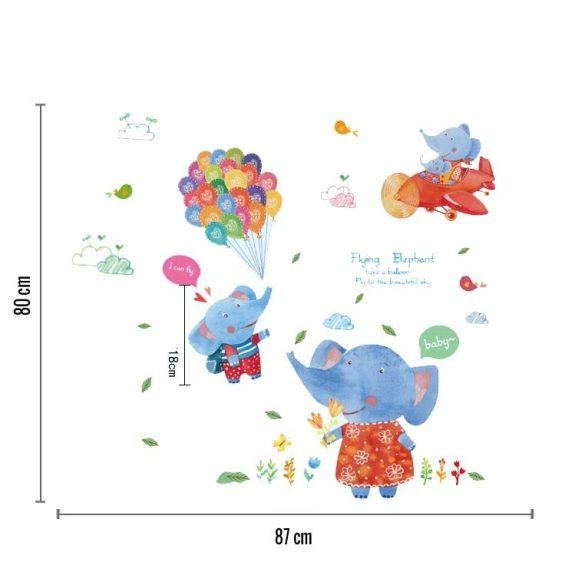 Sticker de perete elefanți zburând