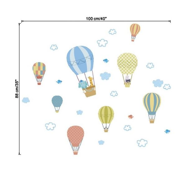 Sticker de perete cu multe baloane cu aer cald în culori pastelate