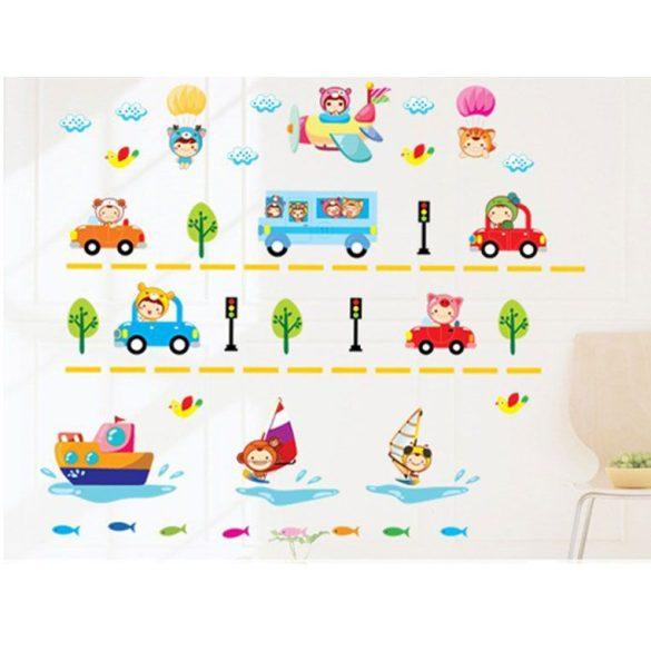 Sticker perete maşini colorate, vapor şi avion