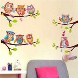 Sticker de perete cu bufnițe colorate