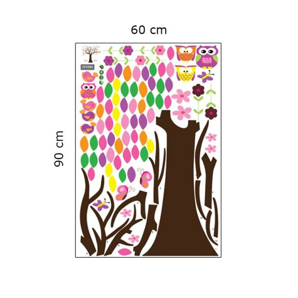 Copac colorat cu bufniţe, păsări, fluturi