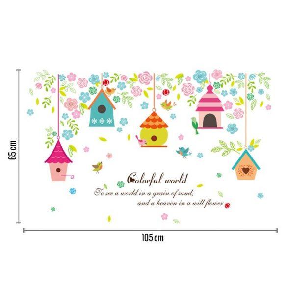 Sticker de perete cu alimentator de pasăre colorat