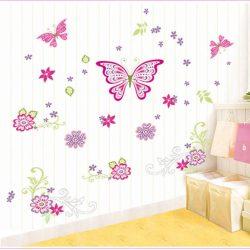 Sticker de perete cu fluturi și flori colorate