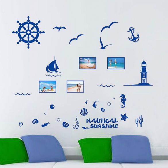 Sticker perete cu ramă – navigare pe mare