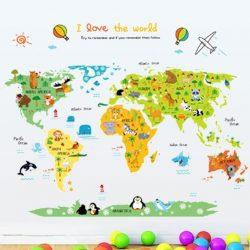 Sticker de perete cu harta călătorie în jurul lumii
