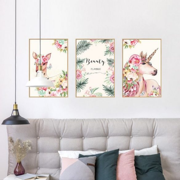 Sticker de perete unicorn și căprioară, sticker de perete compus din 3 poze