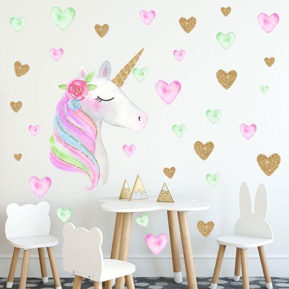 Sticker cu unicorn cu inimioare