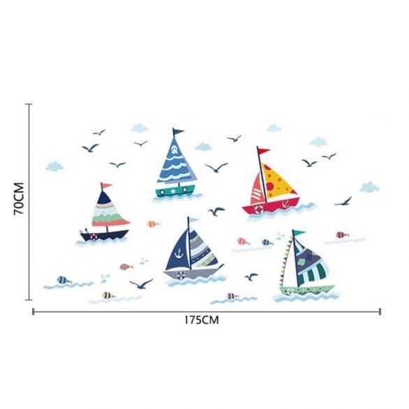 Nave cu vele pe valurile spumoase – sticker de perete