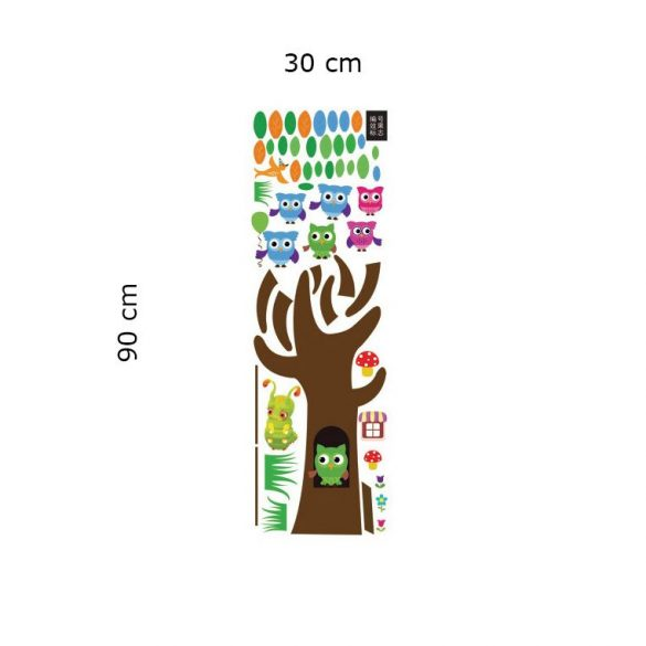 Sticker perete copac cu trunchi robust, bufniţe şi leagăn