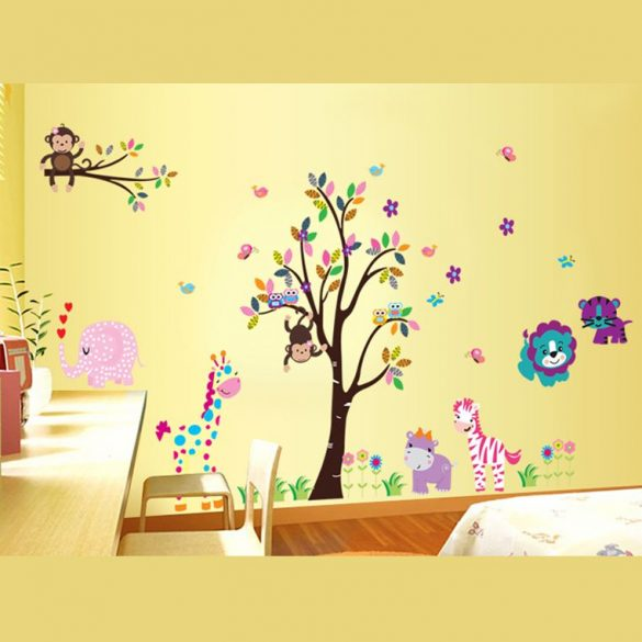 Sticker de perete cu copac vesel, cu flori, elefant, girafă, hipopotam, zebră, maimuţe