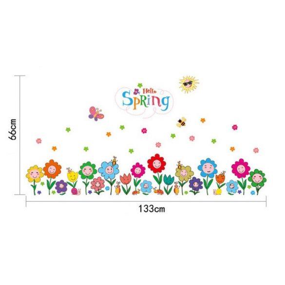Flori vesele pe câmpie – sticker de perete