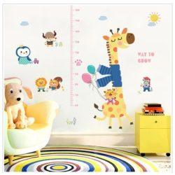 Girafa și prietenii ei – sticker de perete pentru măsurarea înălțimii
