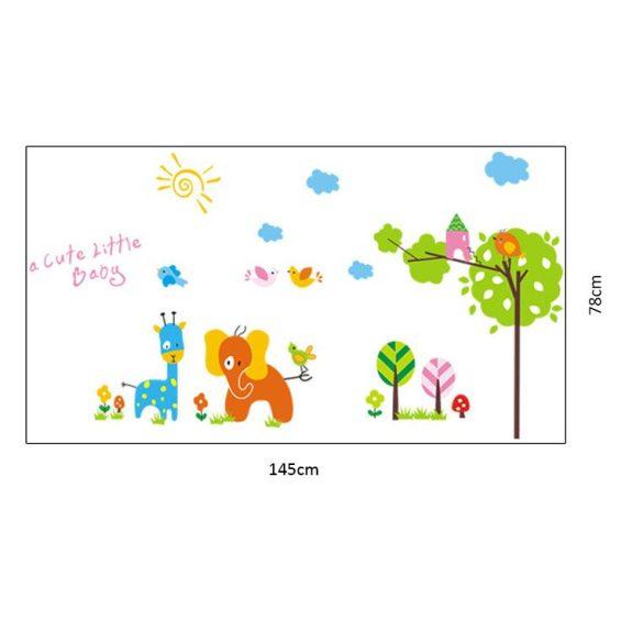 Sticker perete girafa şi elefantul din grădină