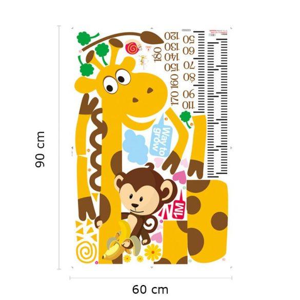 Sticker perete pentru măsurarea înălţimii cu girafă, maimuţă, melc