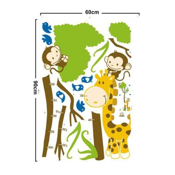 Sticker perete pentru măsurarea înălţimii cu girafă, maimuţă, păsări