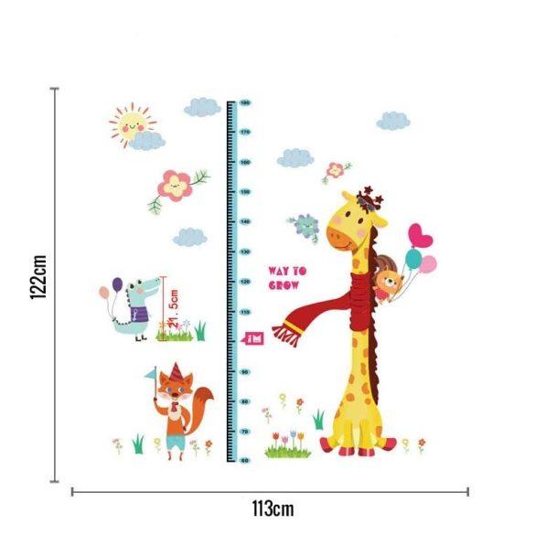 Măsurător de înălțime cu girafă, vulpe, crocodil