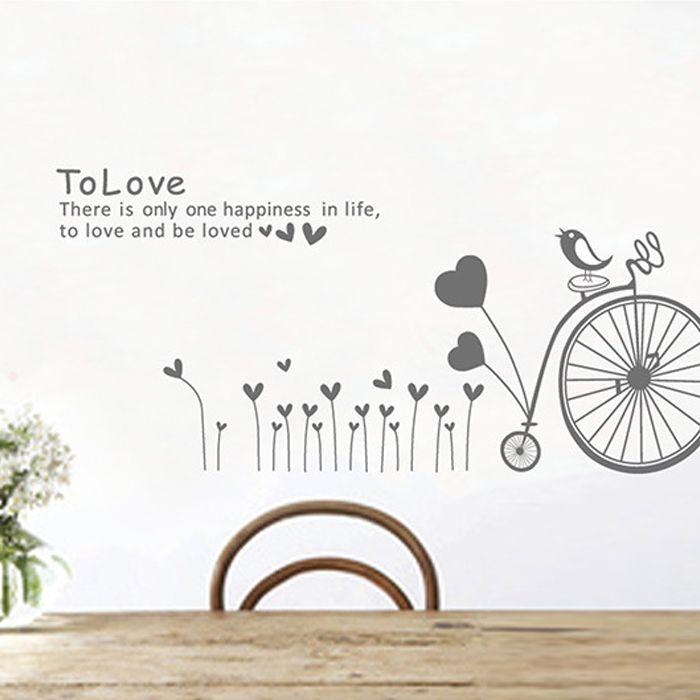 Sticker romantic cu bicicletă