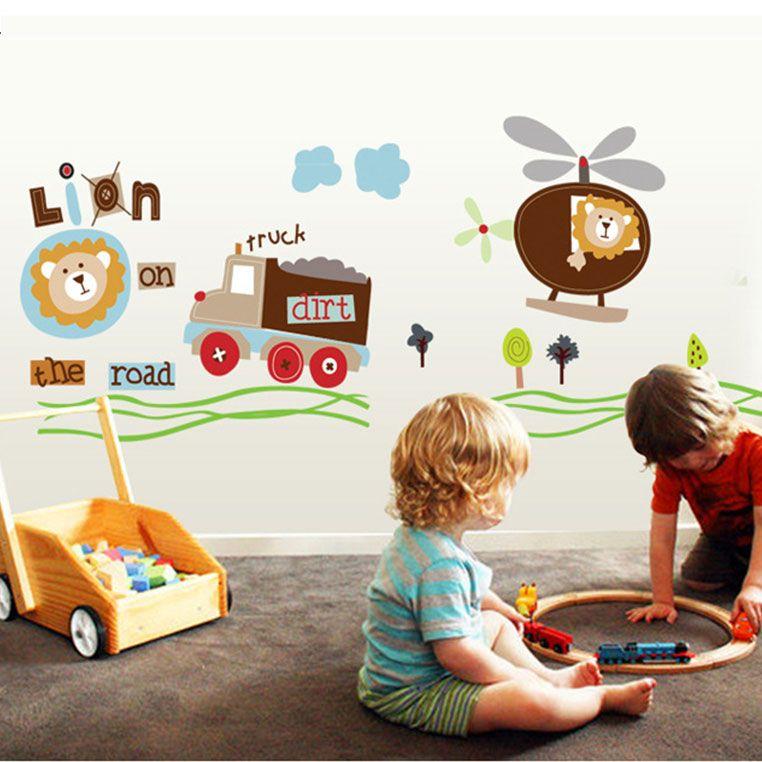 Sticker perete leu cu elicopter şi camion